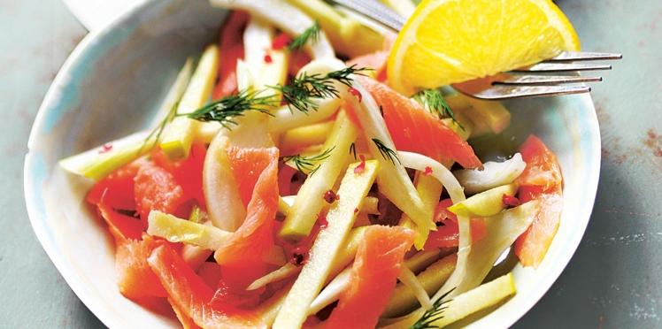 Salade de saumon fumé et fenouil croquant