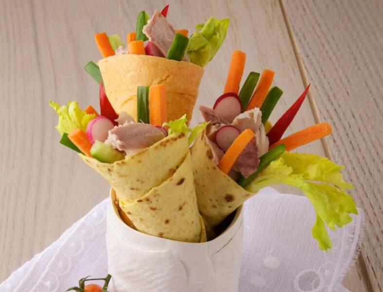 Wraps de légumes d'été au thon
