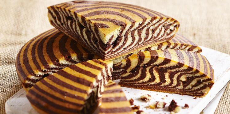 Zebra cake banane-spéculoos