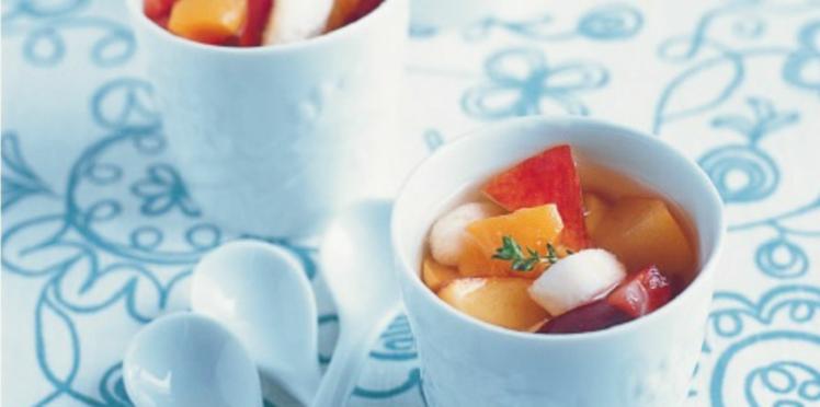 Minestrone de fruits d'été, infusion de thym et citron