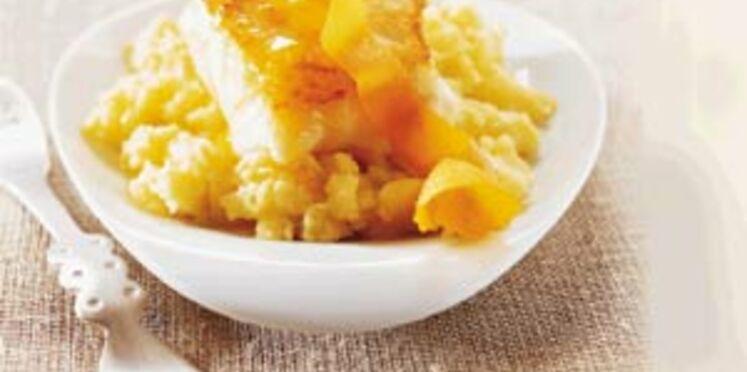 Cabillaud et pommes de terre rattes écrasées, huile d'olive à l'orange de Guy Martin