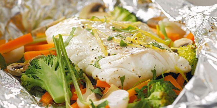 Recette rapide : filets de cabillaud aux légumes citronnés en papillote
