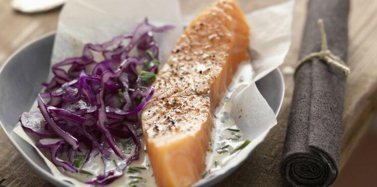 Papillotes de saumon à la menthe et à la crème fraîche