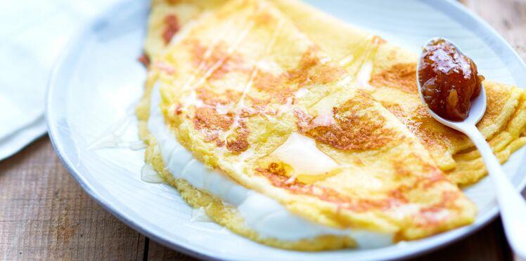 Crêpe soufflée au yaourt grec et compote de figues sèches