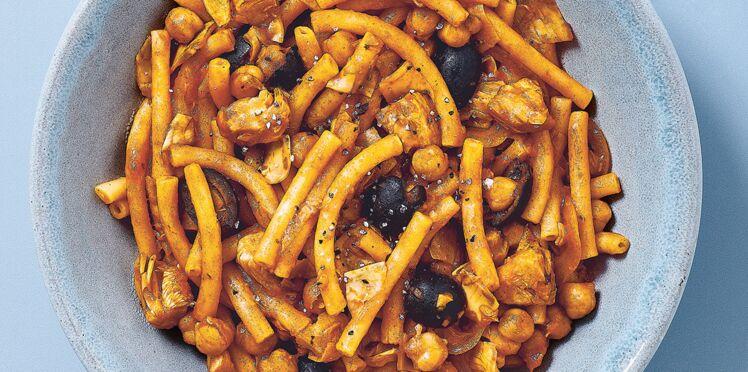 One pot pasta artichauts et olives en 7 minutes