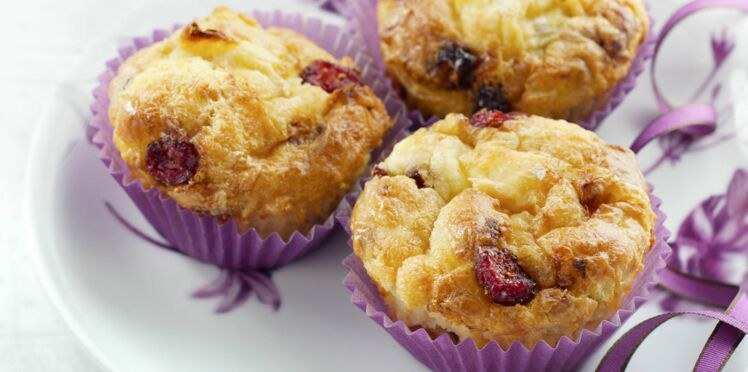 Muffins pommes, cranberries et fromage