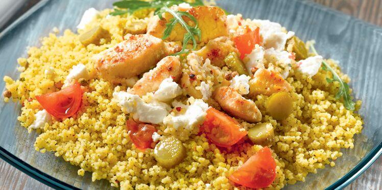 Taboulé menthe-citron au poulet mariné et tomates cerise