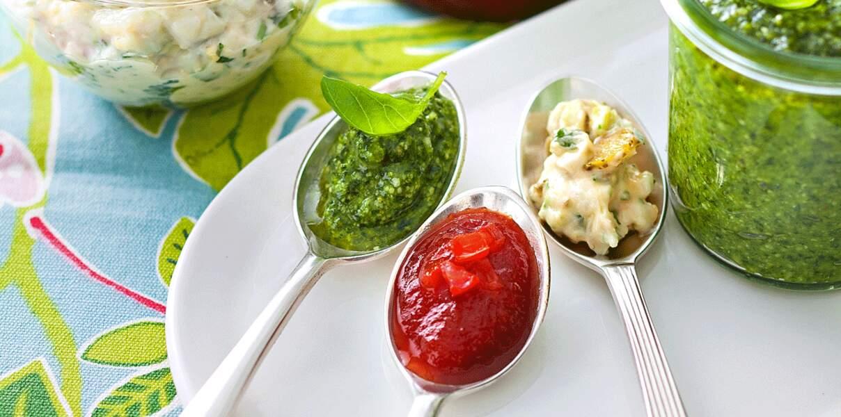 Ketchup, pesto et sauce tartare