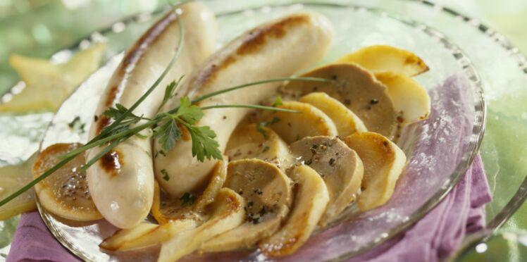 Boudin blanc poêlé, pommes et de foie gras