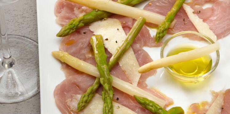 Carpaccio de veau, mini asperges, parmesan