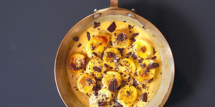 Bananes au chocolat à la poêle
