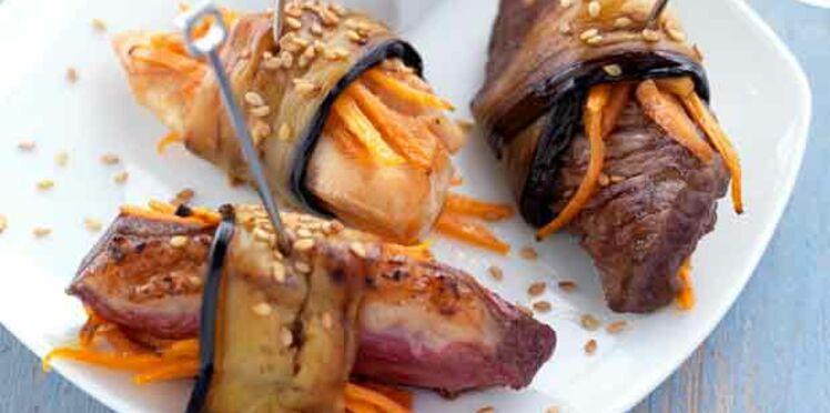 Bouchées de poulet des Landes, magret de canard & boeuf de Chalosse roulées aux aubergines grillées