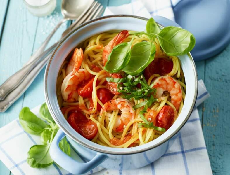 Spaghetti marinara aux crevettes