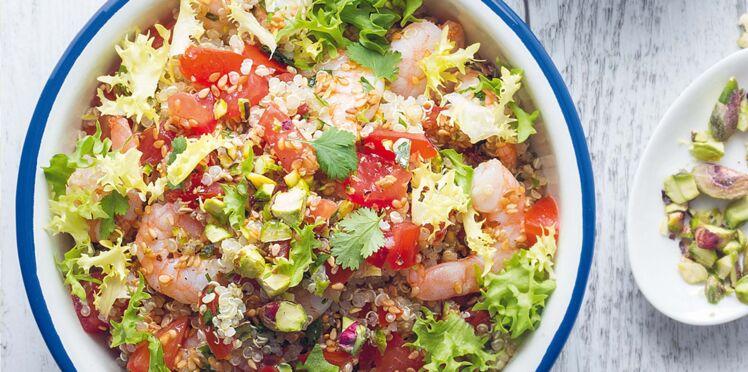 Salade de quinoa, crevettes et pistaches