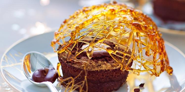 Coulant au chocolat et dôme de caramel