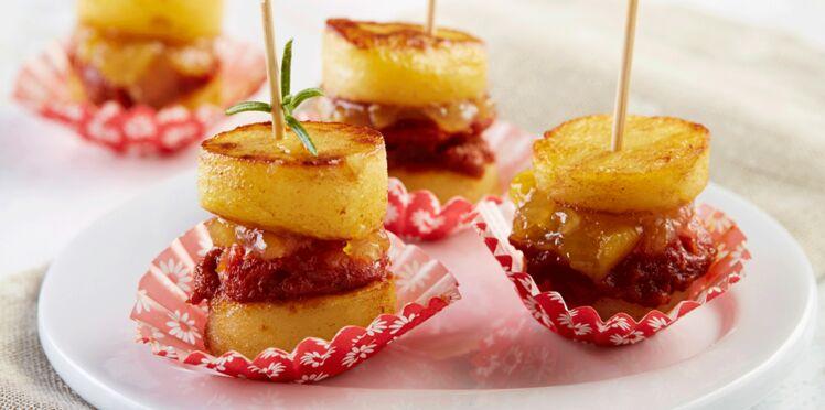 Brochettes de Rattes du Touquet au confit d'oignons & au chorizo