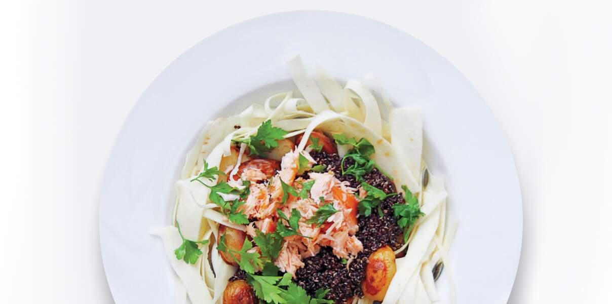 Salade saumon, pommes de terre, quinoa noir et panais