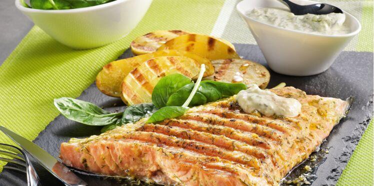 Saumon et sa sauce crémeuse cuit à l'OptiGrill