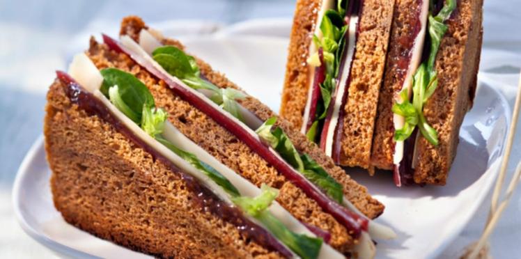Club sandwich pain d'épices, Fol Epi et magret fumé