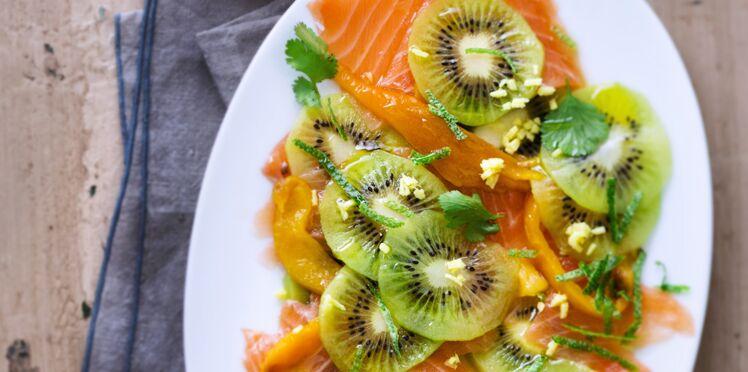 Carpaccio de saumon et kiwi