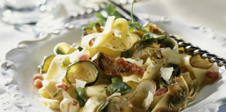 Pâtes façon risotto, fèves et courgettes