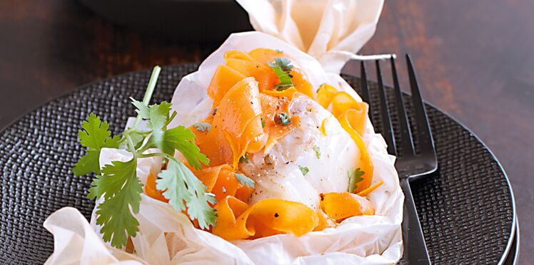 Dos de cabillaud et tagliatelles de carottes