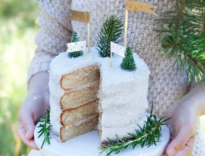 Layer cake vanille coco vegan