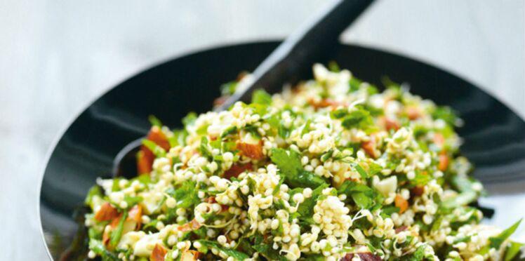 Taboulé de quinoa germé aux amandes et aux herbes