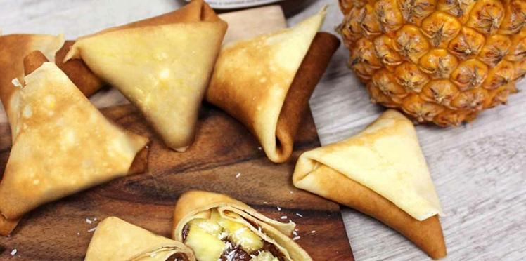 Crêpes en samoussas ananas, noix de coco & Nutella