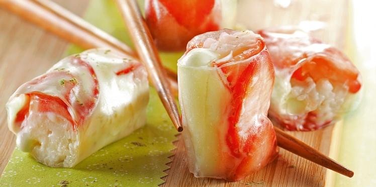 Makis fraises au chocolat blanc et matcha