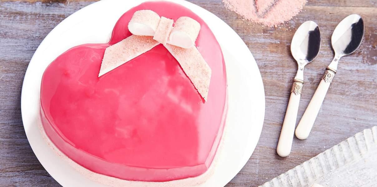 Coeur gourmand aux fruits rouges et biscuits roses de Reims