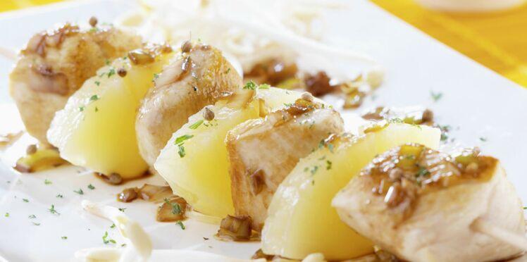 Brochettes de poulet gingembre/citron vert/ananas