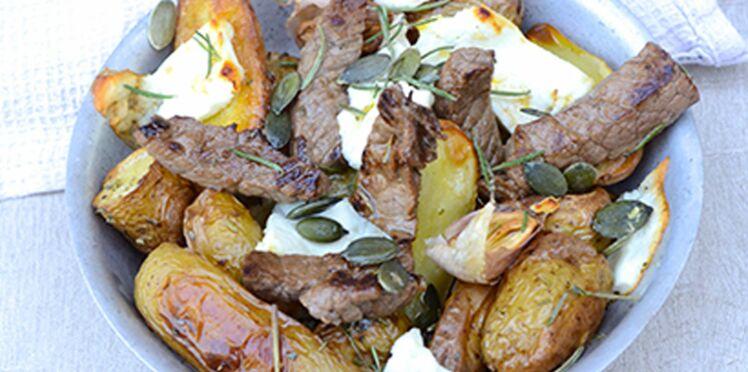 Émincé de bœuf, pommes de terre et Salakis nature