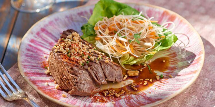 Rumsteak à la thaïe et salade de vermicelles