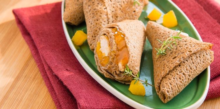 Crêpes façon samossas de poulet à la Confiture d'Abricots Bonne Maman®