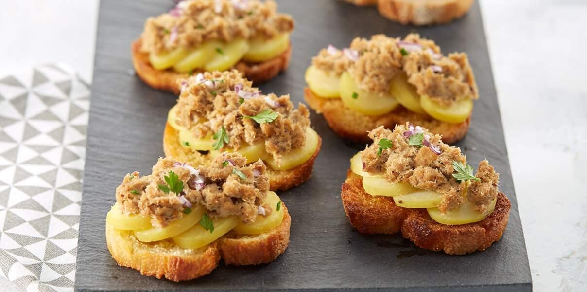 Canapés de pommes de terre aux rillettes de sardine