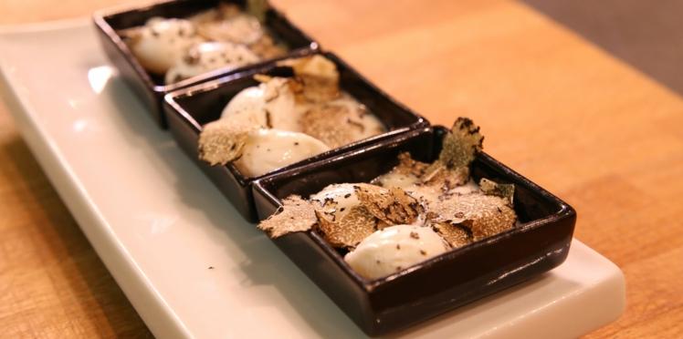 Les bouchées festives de Brice Morvent : les œufs de caille poché aux topinambours et aux truffes
