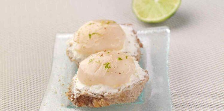 Les toasts de noix de Saint-Jacques marinées au citron vert