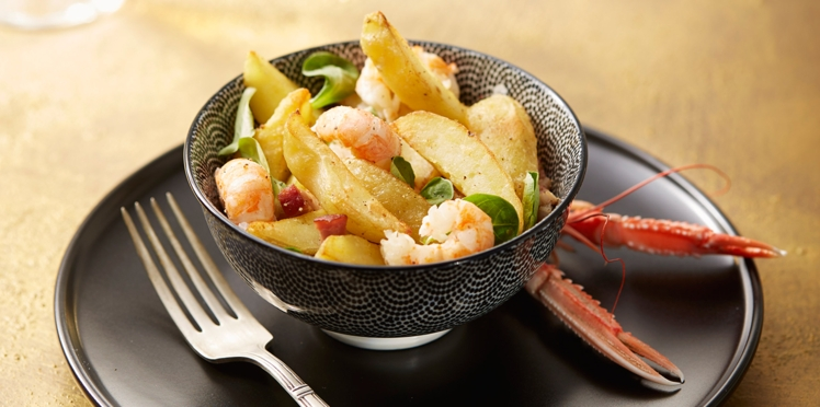 Salade tiède de langoustines aux Ratte du Touquet et huile de truffe