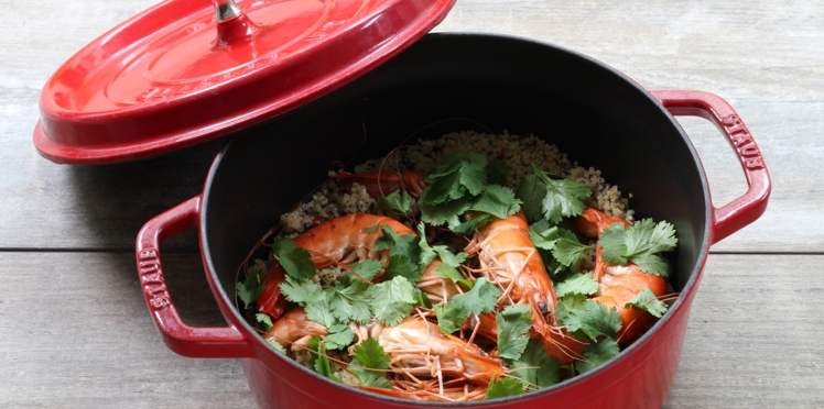 Gambas, risotto et petits légumes
