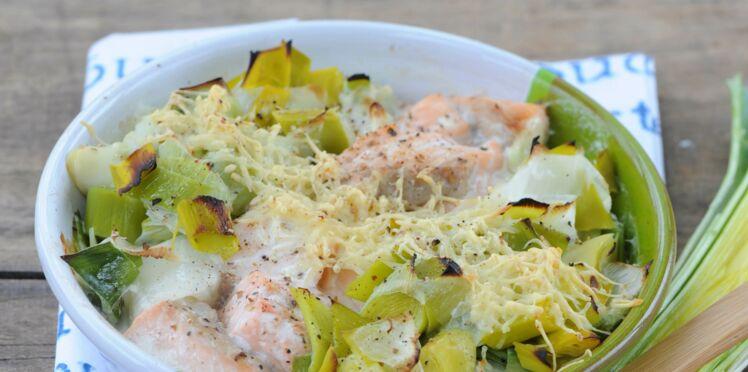 Cassolette saumon poireaux