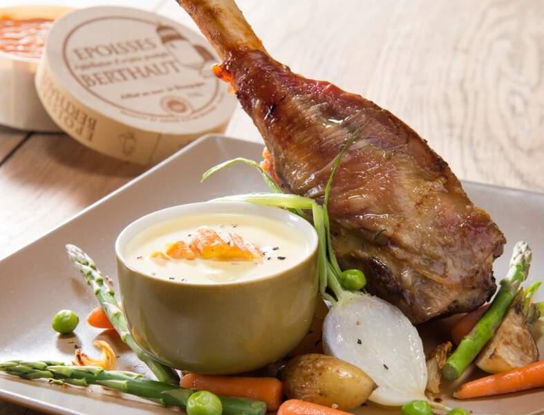 Souris d'agneau sur son lit de crème d'Epoisses Berthaut et légumes de Printemps