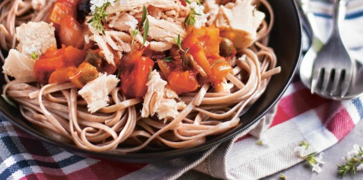 Spaghettis soba, sauce italienne au thon blanc