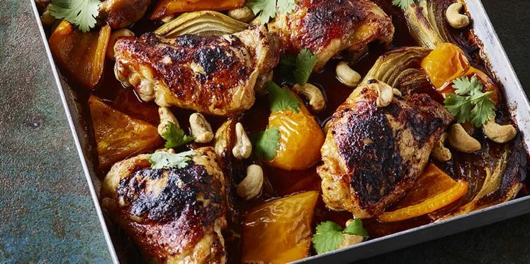 Cuisses de poulet marinées rôties
