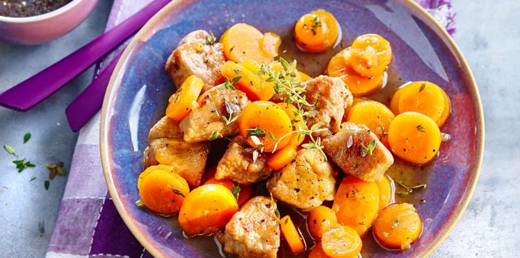 Sauté de porc au miel, thym et carottes