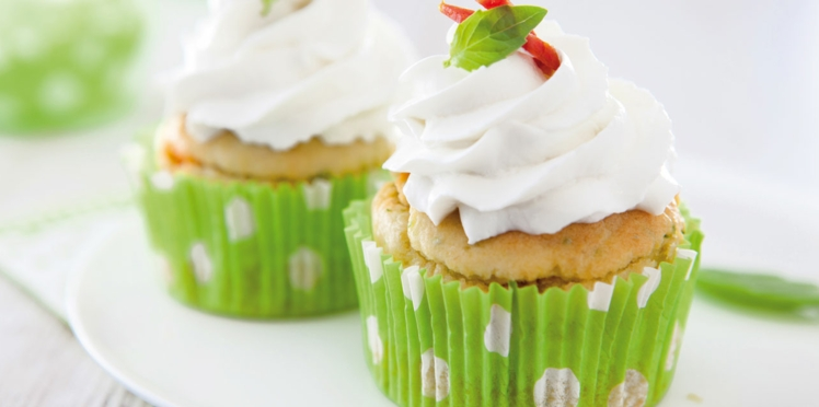Cupcake au chèvre, pistou et chorizo