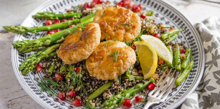 Galettes de saumon et crevettes au quinoa
