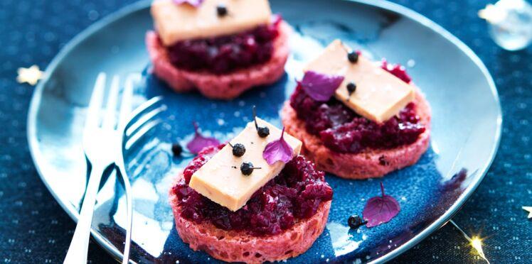 Toasts briochés à la betterave et au foie gras
