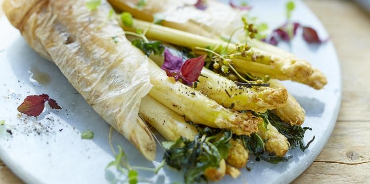 Asperges rôties au beurre de fleur de sel de Guérande et agrumes