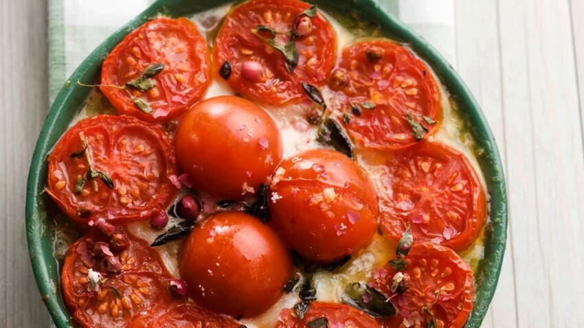 Gratin de pommes de terre à la tomate et à la mozzarella